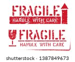 fragile  this way up  handle... | Shutterstock .eps vector #1387849673