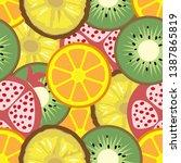 pineapple  kiwi  orange ... | Shutterstock .eps vector #1387865819