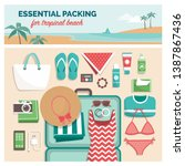 essential packing for tropical... | Shutterstock .eps vector #1387867436