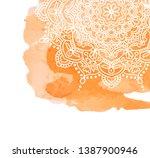 orange watercolor paint... | Shutterstock . vector #1387900946