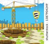 cartoon scene of construction... | Shutterstock . vector #1387904249