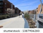 The 606 is an elevated park in Chicago, also known as the Bloomingdale Trail.  Used by pedestrians, skaters, and people riding bicycles.