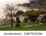 samaba rice terrace fields in... | Shutterstock . vector #1387915106