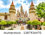 Small photo of Universal Studios, Sentosa, Singapore - March 22nd 2019: The Castle in Universal Studios Singapore within Resorts World Sentosa on Sentosa Island