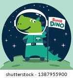 dinosaur astronaut with flag on ... | Shutterstock .eps vector #1387955900