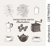 vintage coffee and tea... | Shutterstock .eps vector #1387984556