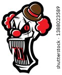 horror evil clown head with... | Shutterstock .eps vector #1388023589