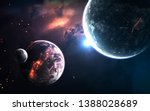 Small photo of Deep space planets, science fiction imagination of cosmos landscape. Elements of this image furnished by NASA