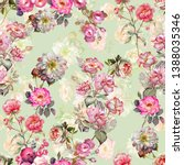 tropical watercolor pink floral ... | Shutterstock . vector #1388035346