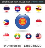 southeast asia flags  set and... | Shutterstock .eps vector #1388058320