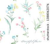 watercolor flowers set it's... | Shutterstock . vector #1388062076