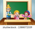 a teacher and student in the... | Shutterstock . vector #1388072339