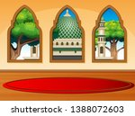 cartoon of mosque view from the ... | Shutterstock . vector #1388072603