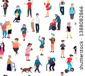 Stock photo seamless pattern with cartoon people walking on street crowd of male and female tiny characters 1388082866