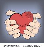 hands holding a darned heart.... | Shutterstock .eps vector #1388091029