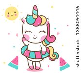 Stock vector cute unicorn vector nursery decoration happy summer holiday with watermelon baby animal kawaii 1388094446