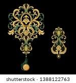 golden elements in baroque ... | Shutterstock . vector #1388122763