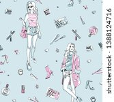 seamless fashion pattern with... | Shutterstock .eps vector #1388124716