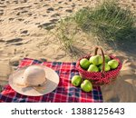 picnic with picnic basket at... | Shutterstock . vector #1388125643