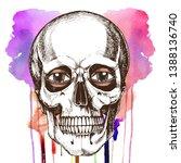 human skull with eyes. hand...   Shutterstock . vector #1388136740