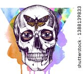 human skull with eyes and death'...   Shutterstock . vector #1388139833