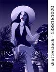 summer night vacation poster.... | Shutterstock .eps vector #1388181020