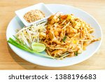 thai fried rice noodle with... | Shutterstock . vector #1388196683