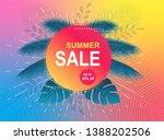 summer sale banner. tropical... | Shutterstock .eps vector #1388202506