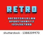 bold retro alphabet and numbers.... | Shutterstock .eps vector #1388209970