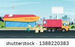 the postal staff is carrying... | Shutterstock .eps vector #1388220383