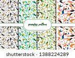 set of green leafs seamless... | Shutterstock .eps vector #1388224289