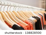 Stock photo clothes hang on a shelf in a designer clothes store in melbourne australia 138828500