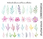 watercolor flowers and leaves...   Shutterstock . vector #1388306816