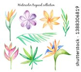 watercolor tropical flowers and ...   Shutterstock . vector #1388306819