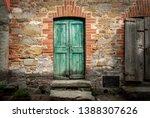 Green Door Of An Old House