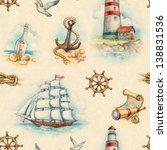 Nautical Watercolor Seamless...