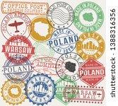 warsaw polandset of stamps.... | Shutterstock .eps vector #1388316356