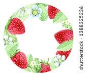 circle frame of summer berries. ... | Shutterstock . vector #1388325236