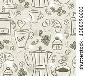 beige seamless patterns with... | Shutterstock .eps vector #1388396603