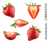 Small photo of Set of red strawberry berries isolated on white background. 100 percent sharpness.
