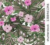 fresh green tropical leaves ... | Shutterstock .eps vector #1388461346