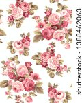 Stock photo floral seamless design pink roses color harmony fabric curtain or wallpaper 1388462063