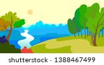 cartoon style landscape with... | Shutterstock .eps vector #1388467499