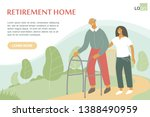 old man with zimmer frame walks ... | Shutterstock .eps vector #1388490959