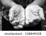 Old Female Hands In Black And...