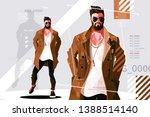 stylish guy in coat vector... | Shutterstock .eps vector #1388514140