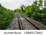 close up of train tracks with... | Shutterstock . vector #1388517860