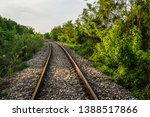 close up of train tracks with... | Shutterstock . vector #1388517866