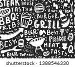 modern lettering bbq seamless... | Shutterstock .eps vector #1388546330