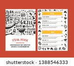 steak menu design. bbq grill...   Shutterstock .eps vector #1388546333